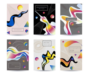 Abstract holographic background set. Cover template design with liquid shapes and geometric elements. Vector illustration