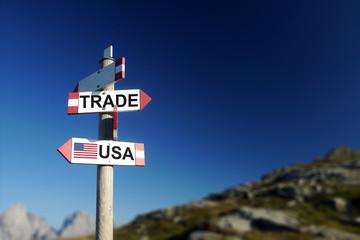USA and trade war concept