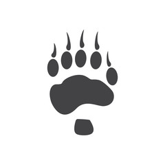 Vector illustration. Bear Paw Prints Logo. Black on White background. Animal paw print with claws.
