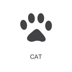 Vector illustration. Cat Paw Prints Logo. Black on White background. Animal paw print with claws.