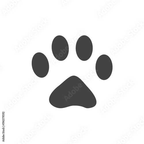 Vector Illustration Cat Paw Prints Logo Black On White Background