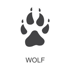 Vector illustration. Wolf Paw Prints Logo. Black on White background. Animal paw print with claws.
