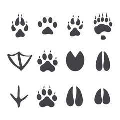 Vector illustration. Set of animal and bird Paw Foot Prints Logo. Black on White background. Animal paw print with claws.