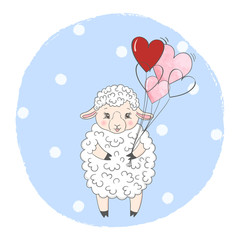 Cute sheep with balloons. Vector illustration for kids. Suitable for Birthday cards, t-shirt print, posters.