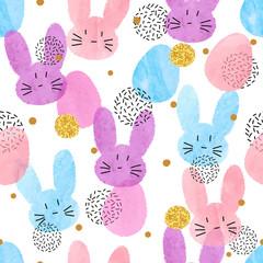 Modèle de Pâques vectoriel coloré avec des lapins aquarelles et des œufs.