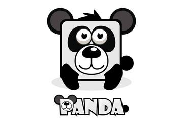 Cute cartoon square panda. Set vector animals
