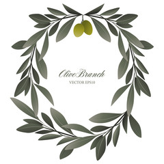 Olive branch wreath isolated. Vector Illustration