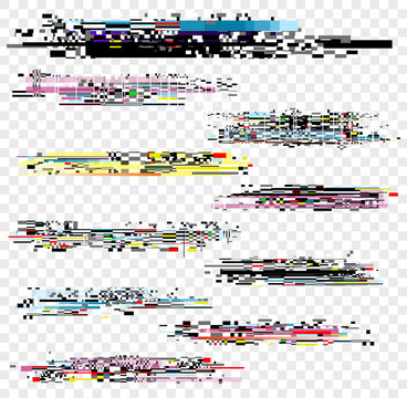 Vector illustration set of noise effect, decay signal glitch elements isolated on white background. Grunge monitor and Tv screen problems set.