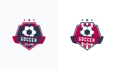 Hexagon Soccer Football Badge logo designs, Soccer Emblem logo template vector illustration