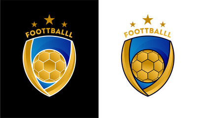 Luxury gold color Soccer Football Badge logo designs, Soccer Emblem logo template vector illustration