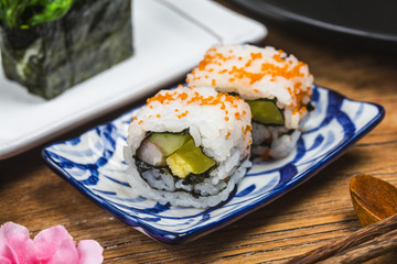 A plate of sushi on the board, Japanese food