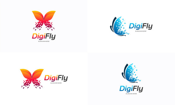 Digital Fly logo template designs, Pixel Butterfly logo designs concept, Butterfly logo designs vector
