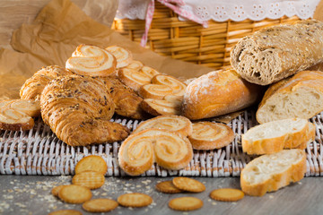 Different assortment of bread and  bakery products