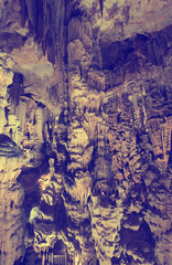 Panoramic view of chamber in Grotte des Demoiselles