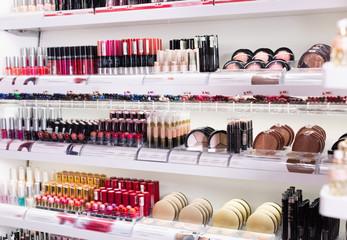 Variety of assortment of modern cosmetics store