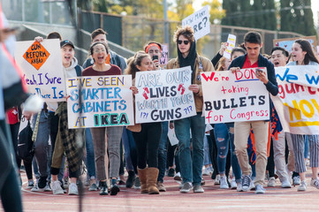 Students participate in the National School Walkout in La Crescenta, California