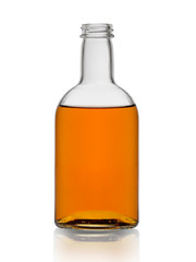bottle of cognac brandy without cork isolated on white background