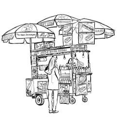 Tuinposter Art Studio Hot dog street cart in New York