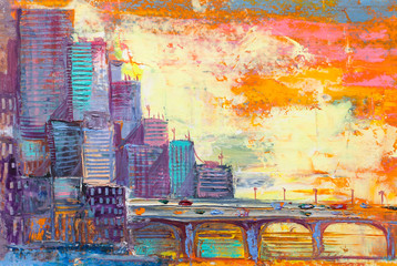 Abstract oil painting cityscape, with skyscrapers against a sunset.