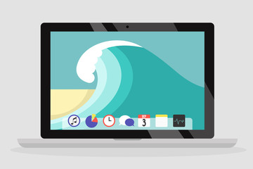 Laptop wallpaper. Ocean waves, sand beach. Summer. Flat editable vector illustration, clip art