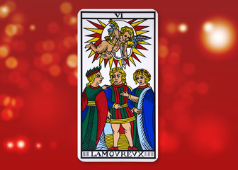 Tarot Card - The Lovers. Red blurry background