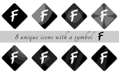 black and white buttons with symbol. black and white buttons. button icon. black icons for the site