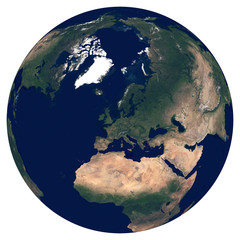 Earth from space. Satellite image of planet Earth. Photo of globe. Isolated physical map of Europe (EU: Germany, France, Italy, United Kingdom (UK), Poland). Elements of this image furnished by NASA.
