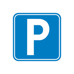 Vector illustration. Parking car vehicle area sign icon. Parking road sign