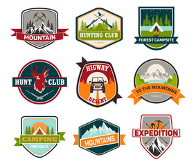 Signs or badges for hunting and climbing, camping