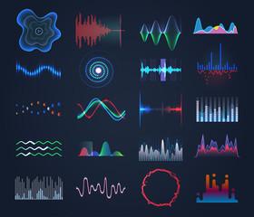 Set of isolated futuristic music, sound equalizer
