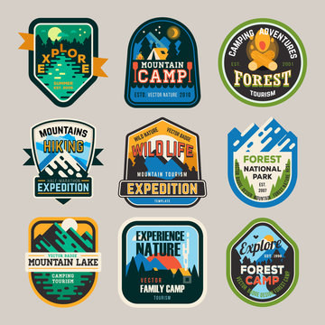 Isolated signs, logo for camping club, exploration