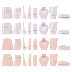 pink and white hand-drawn vecttor Brilliant plastic tubes with cosmetics and perfume clipart isolated on white background