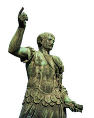 Trajan the conqueror, one of the greatest  ancient roman emperor, bronze statue along Imperial Fora avenue in the very center of Rome (isolated on white background)