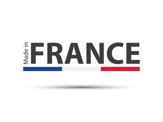 Made in France, colored vector symbol with French tricolor isolated on white background