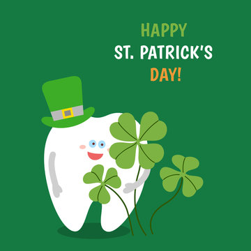 Cartoon tooth wearing a hat holds a four-leaved shamrock on green background. Happy St. Patrick's Day! Greeting card from dentistry. Symbol of luck and happiness.
