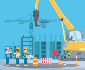 Under construction zone with enginners and crane truck  over blue  background, colorful design vector illustration