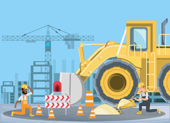 Under construction zone with builders and bulldozer truck over blue background, colorful design vector illustration