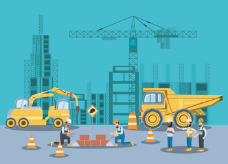 Under construction zone with builders and engineers and construction truck over blue background, colorful design vector illustration