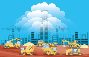 Under construction zone with construction trucks over  blue background, colorful design vector illustration