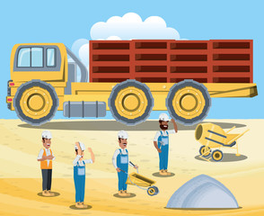 Under construction zone with cargo truck with load and builders over blue background, colorful design vector illustration