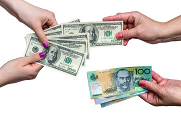 Exchanging money between american dollar  and Australian dollar isolate on white