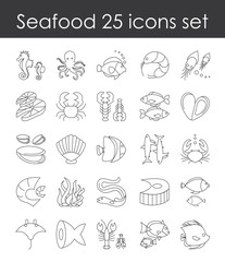 Vector illustration set of fish and seafood outline icon, collection of elegant thin line elements fish goods on white background.