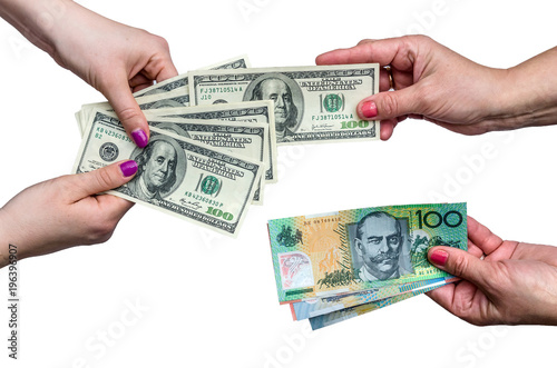 Exchanging Money Between American Dollar And Australian Isolate On White