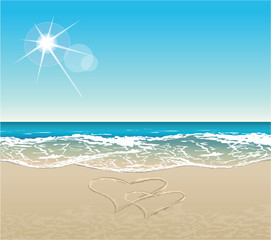 vector tropical beach with much copy space