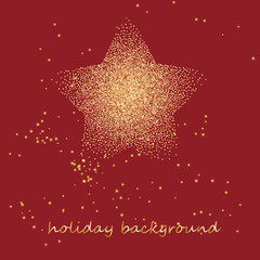 gold star on a festive red star burst background with glitter burst