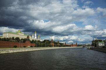 View of the Kremlin embankment and the Moscow River, Moscow, Russia