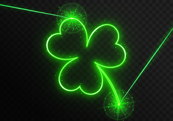 Neon clover leaf with green laser rays on a transparent background. Element for design on the traditional Irish holiday is the day of St. Patrick. Bright vector illustration with shiny particles