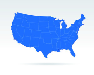 USA map modern style blue with states