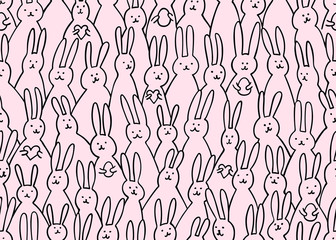 Funny bunny seamless pattern. Illustration of cute easter bunnies with easter eggs and hearts. Bright easter background for textile, fabric, covers, manufacturing, scrapbooking, wallpapers, print