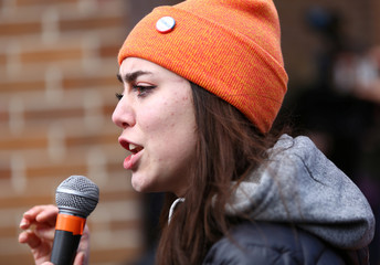 Smissen speaks to crowd of students at University of Washington during the National School Walkout to protest gun violence in Seattle